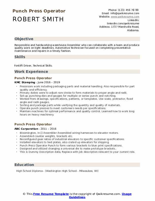 Punch Press Operator Resume example