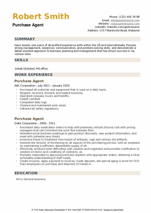 Purchase Agent Resume example