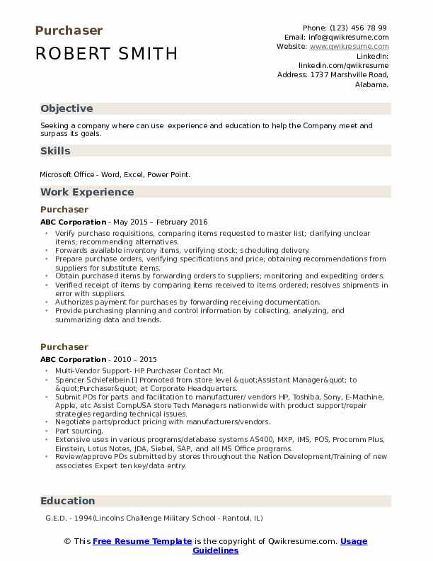 Purchaser Resume example