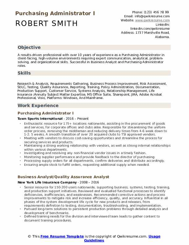 Purchasing Administrator I Resume Template