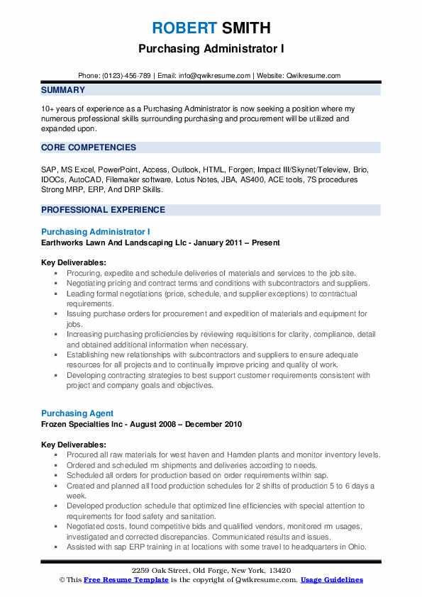 Purchasing Administrator I Resume Format