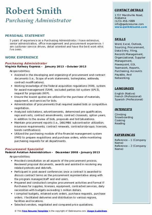 Purchasing Administrator Resume Sample