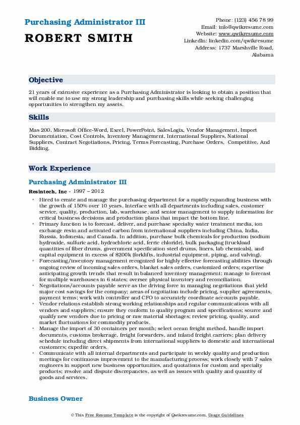 Purchasing Administrator III Resume Example