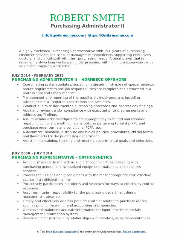Purchasing Administrator II Resume Model