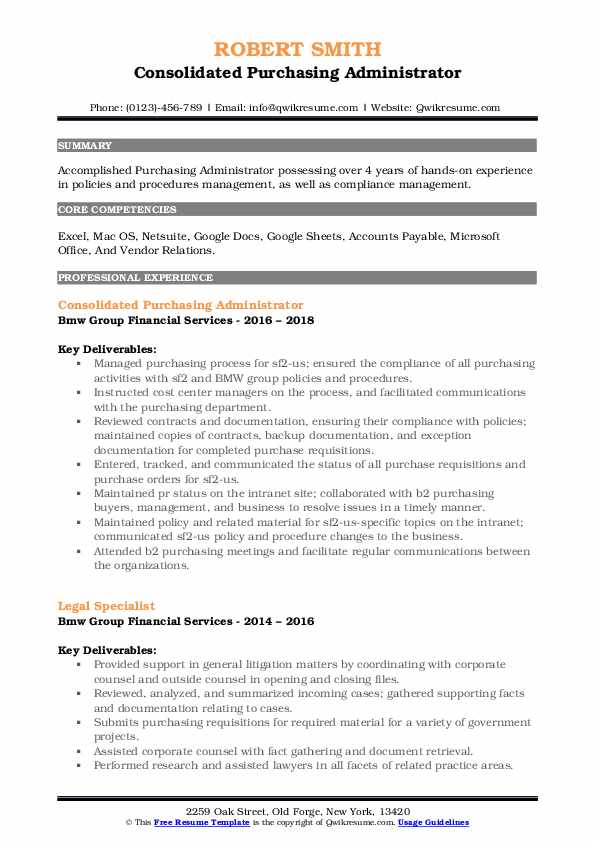 Consolidated Purchasing Administrator Resume Sample