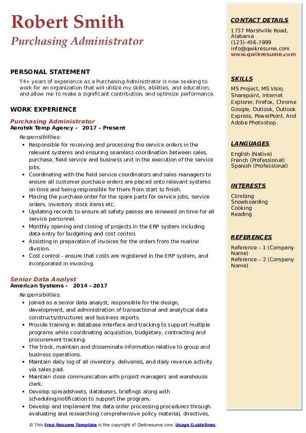 Purchasing Administrator Resume Model