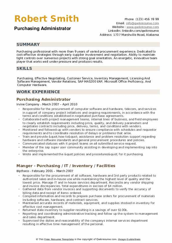 Purchasing Administrator Resume Sample