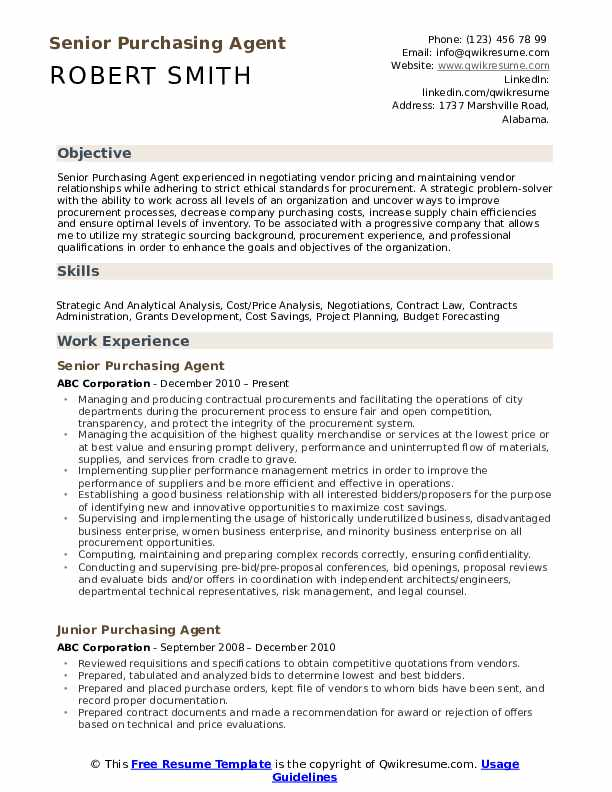 Senior Purchasing Agent Resume Format