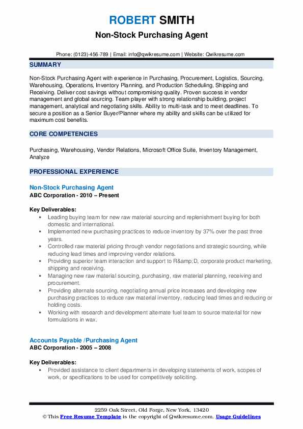 Non-Stock Purchasing Agent Resume Model