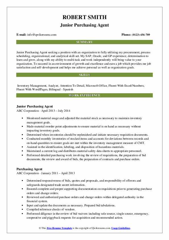 Junior Purchasing Agent Resume Sample