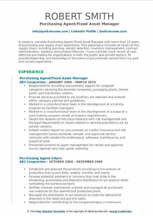 Purchasing Agent/Fixed Asset Manager Resume Format
