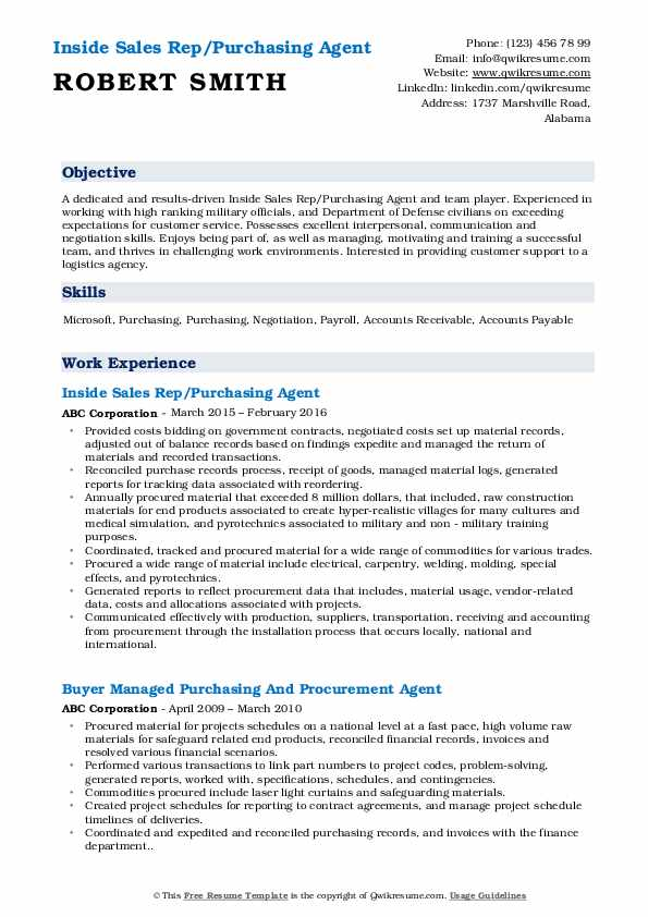 Inside Sales Rep/Purchasing Agent Resume Sample