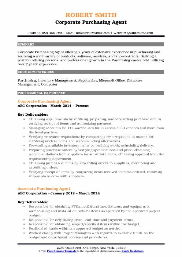 Corporate Purchasing Agent Resume Format