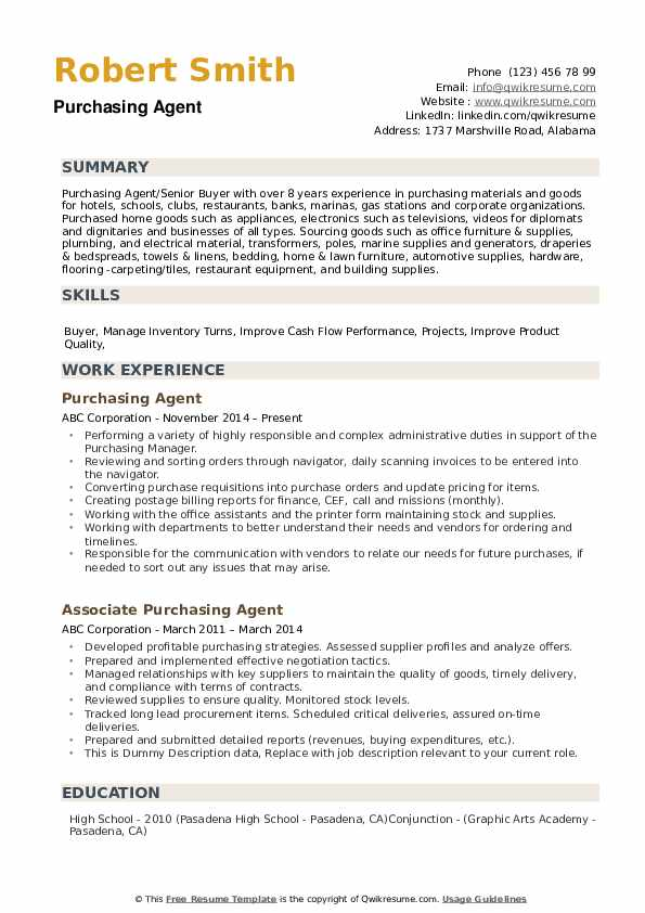 Purchasing Agent Resume example