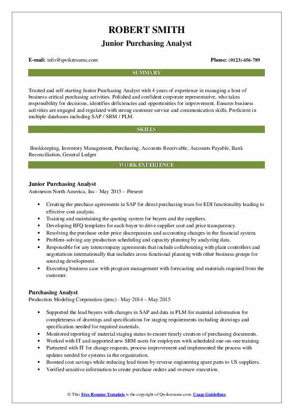 Purchasing Analyst Resume Samples Qwikresume