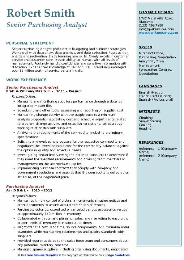 purchasing analyst resume samples