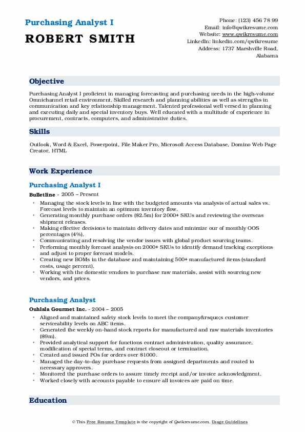 Purchasing Analyst I Resume Example