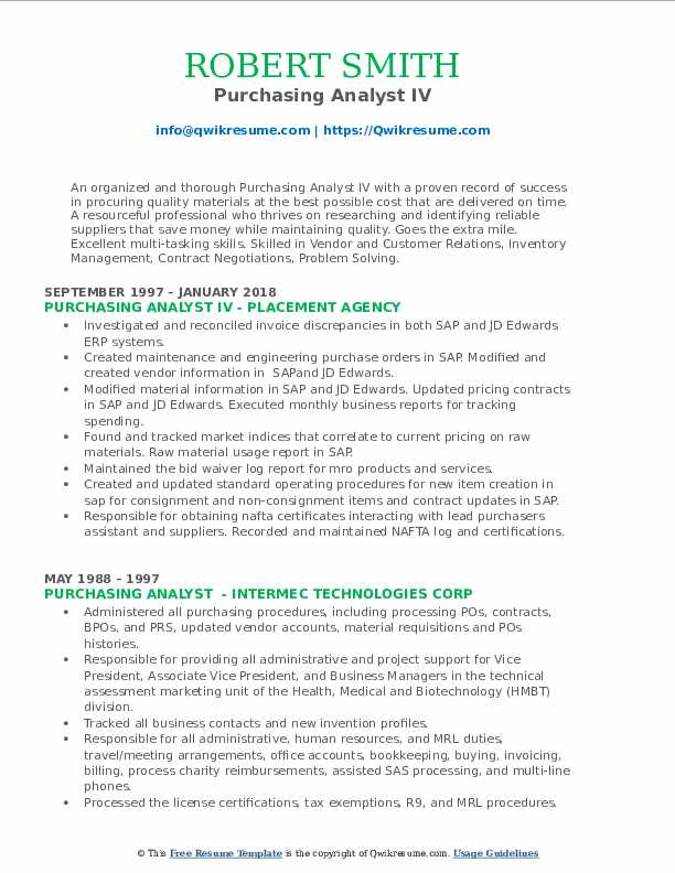 Purchasing Analyst IV Resume Format