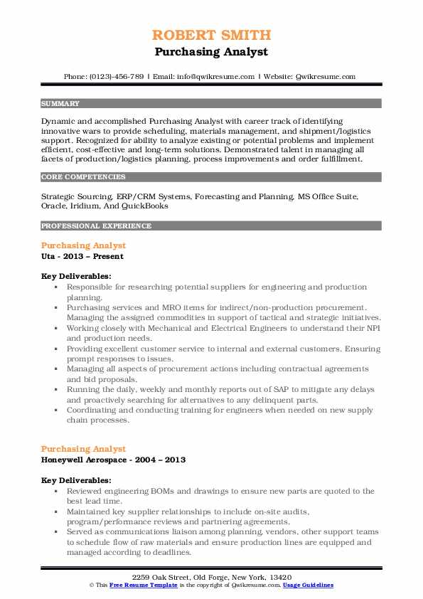 Purchasing Analyst Resume Model