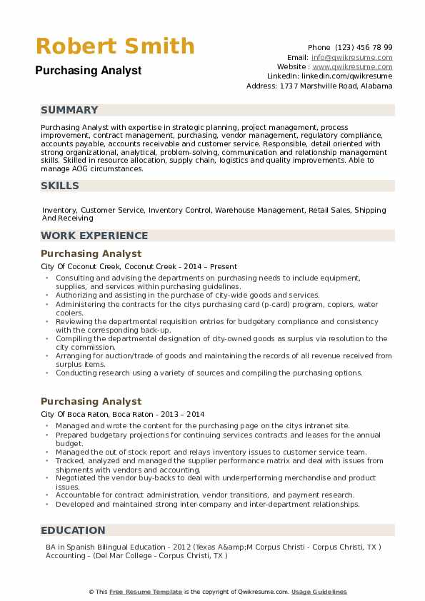 Purchasing Analyst Resume example