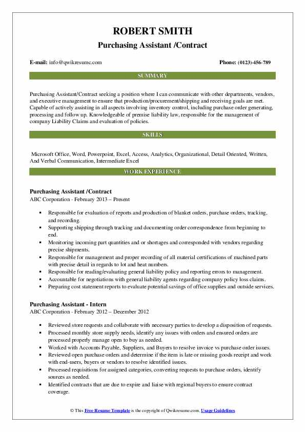 Purchasing Assistant Resume Samples | QwikResume