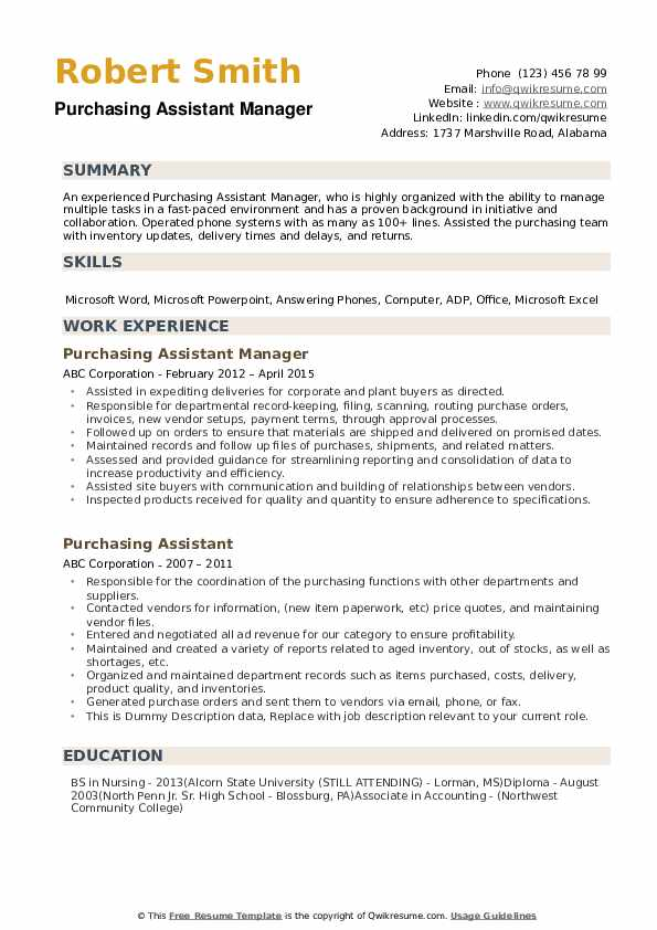 Purchasing Assistant Resume Samples Qwikresume