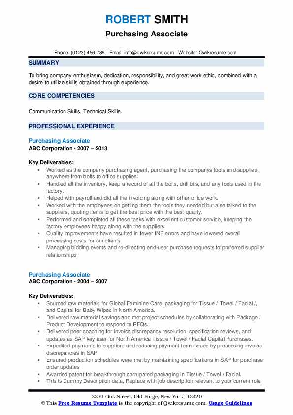 Purchasing Associate Resume example