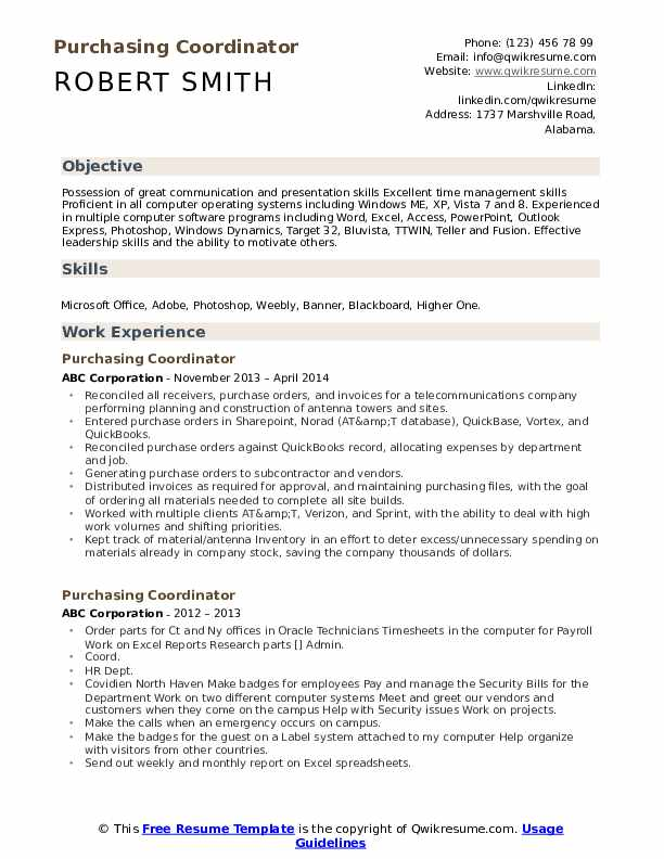 Purchasing Coordinator Resume Sample