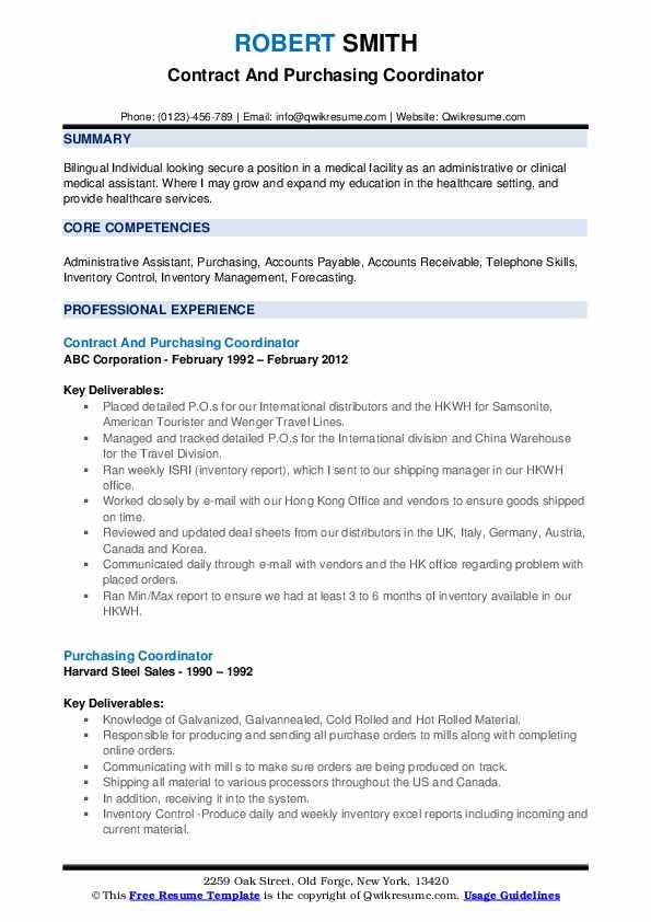 Purchasing Coordinator Resume Samples | QwikResume