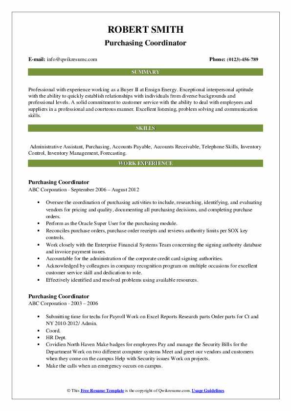 Purchasing Coordinator Resume Template