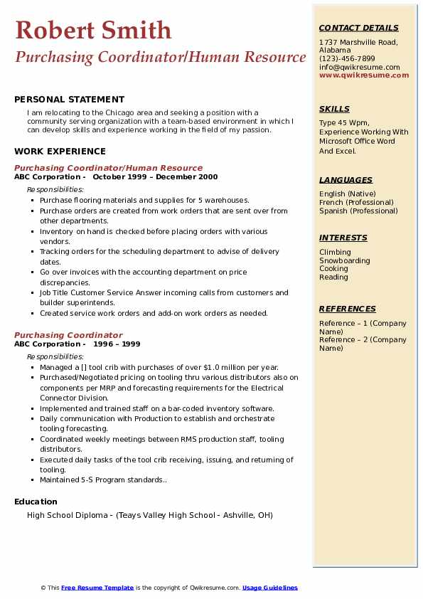 Purchasing Coordinator/Human Resource  Resume Template