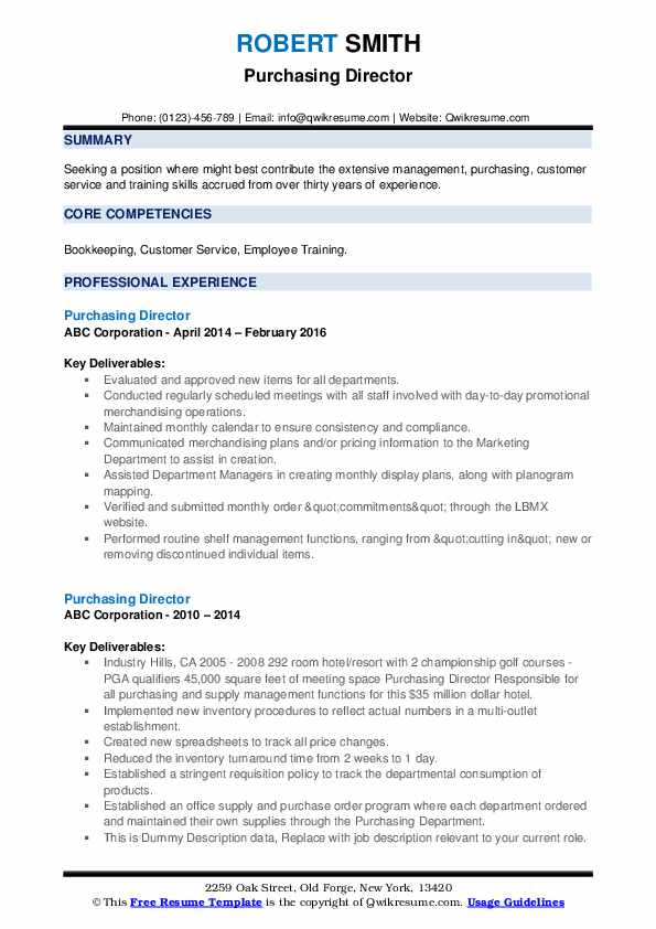 Purchasing Director Resume example