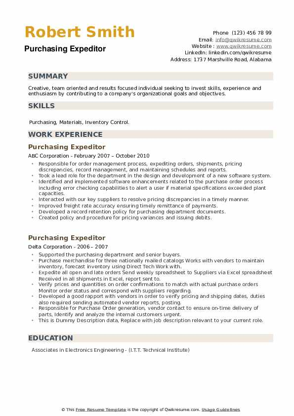 Purchasing Expeditor Resume example
