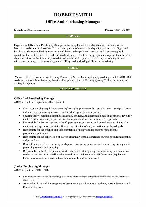 Office And Purchasing Manager Resume Format