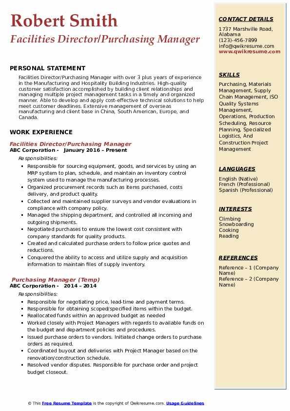 Purchasing Manager Resume Samples | QwikResume