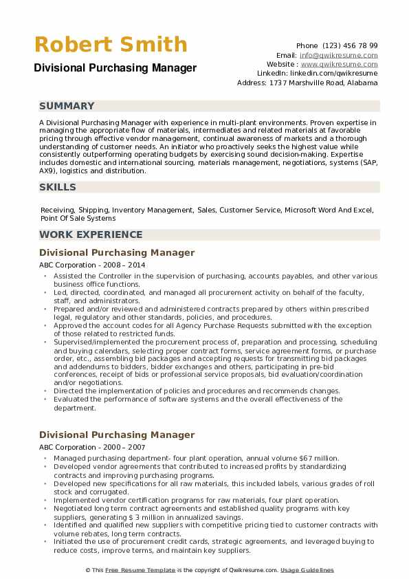 Divisional Purchasing Manager Resume Example