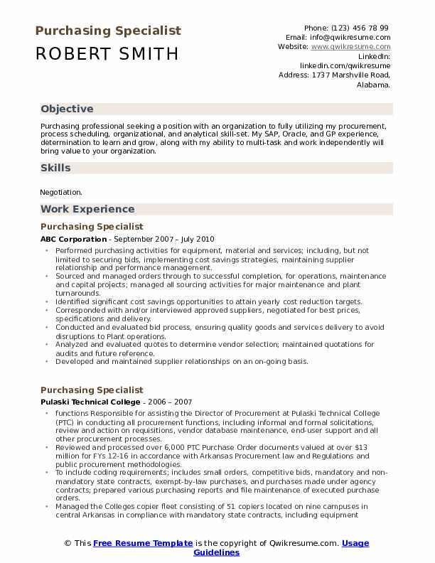 Purchasing Specialist Resume Sample