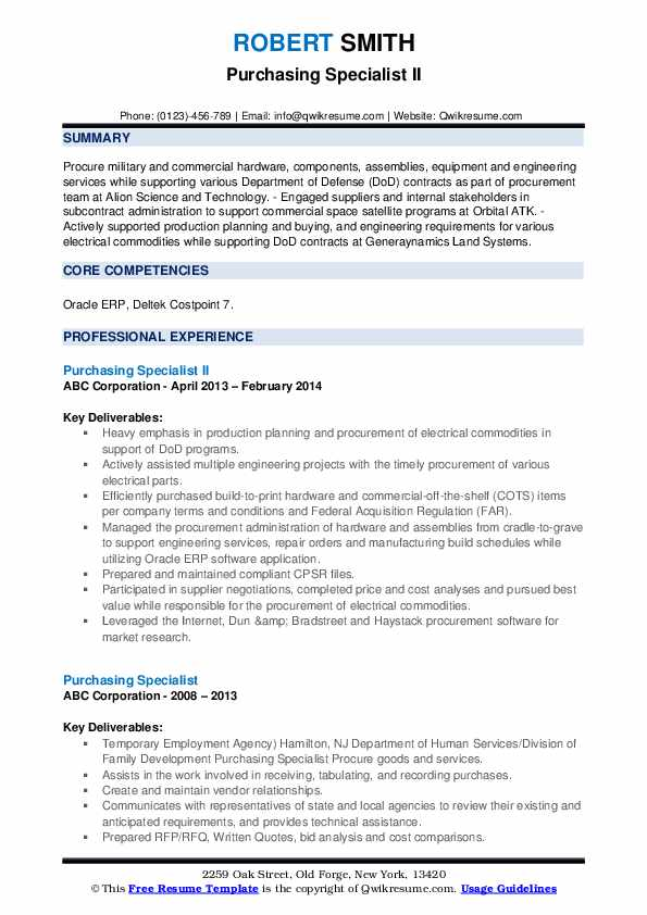 Purchasing Specialist II Resume Sample