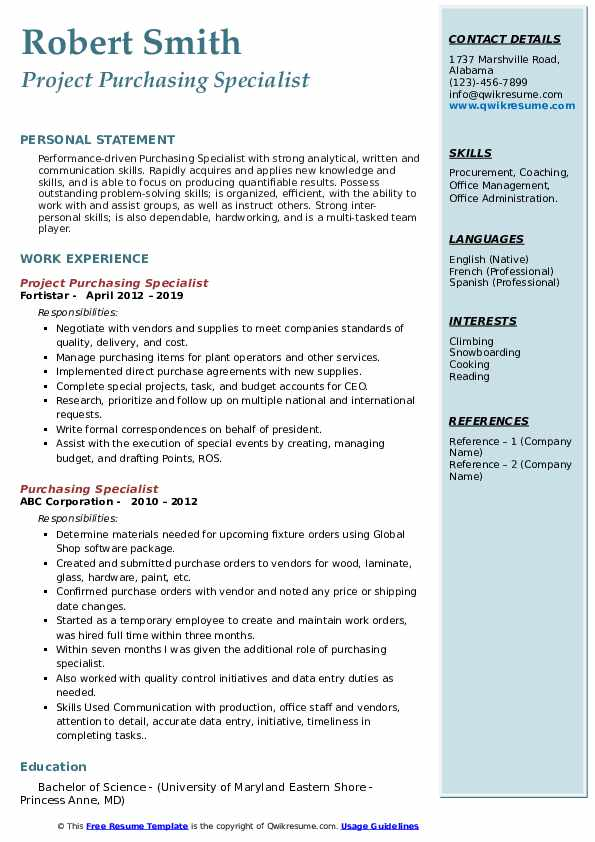 Project Purchasing Specialist Resume Template
