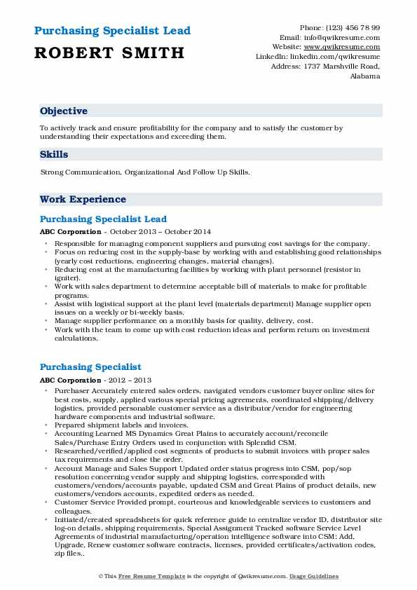 Purchasing Specialist Lead Resume Sample