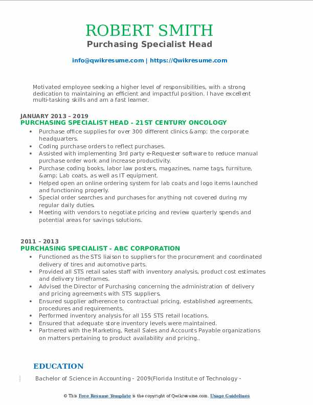 Purchasing Specialist Head Resume Model