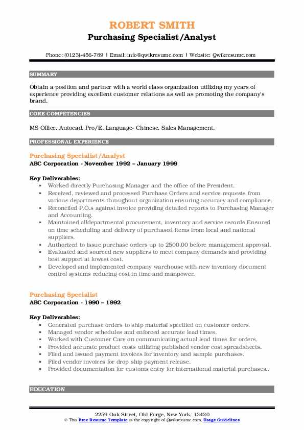 Purchasing Specialist/Analyst Resume Template