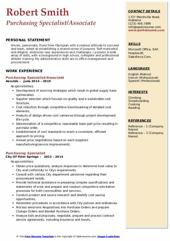 Purchasing Specialist/Associate Resume Model