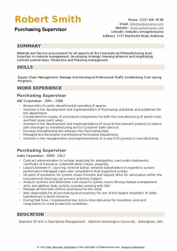 Purchasing Supervisor Resume example