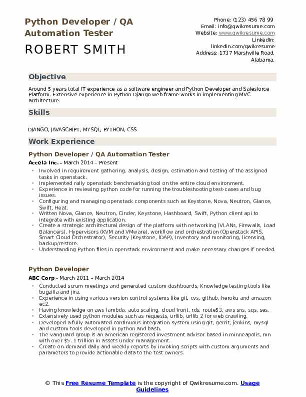 Python Developer Resume Samples | QwikResume