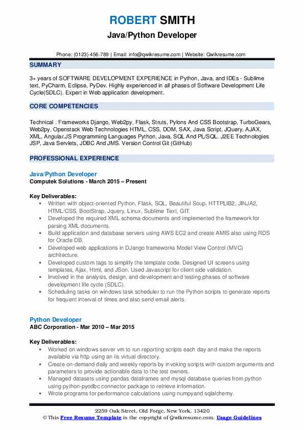 Python Developer Resume Samples Qwikresume