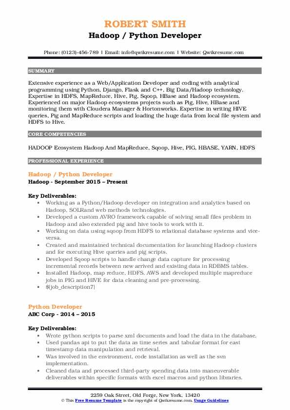 python developer resume samples