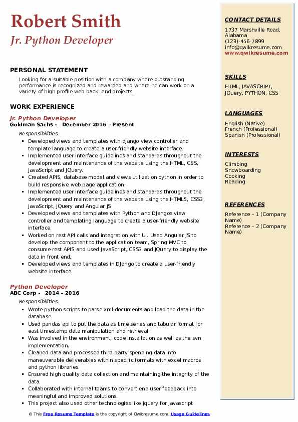 Jr. Python Developer Resume Format