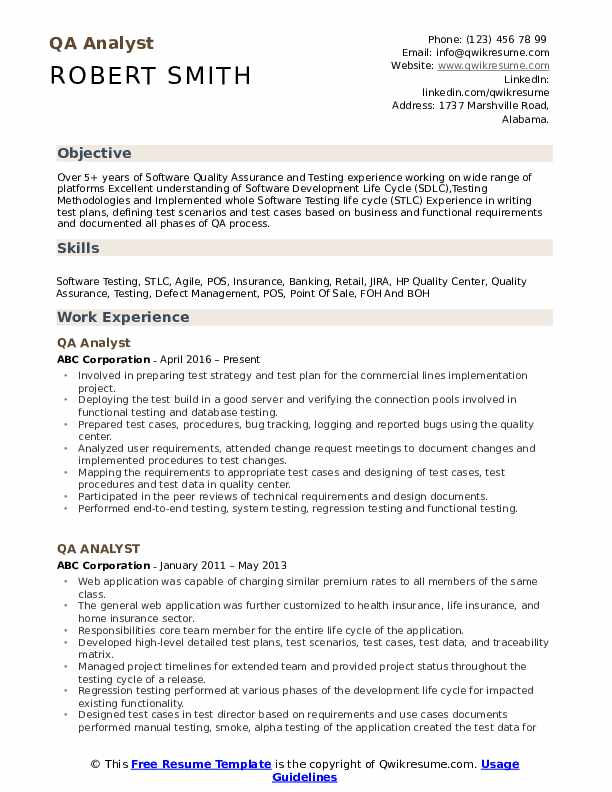 QA Analyst Resume Template