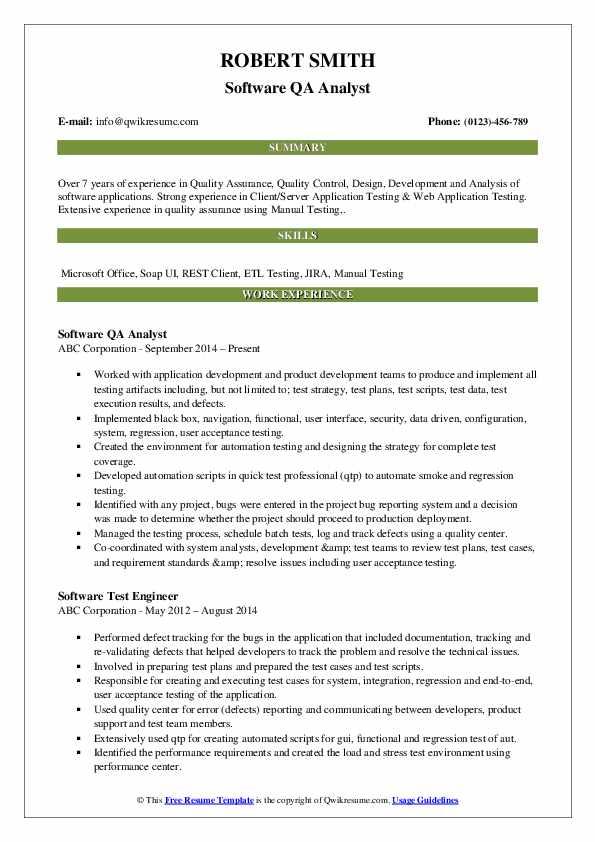 Software QA Analyst Resume Template